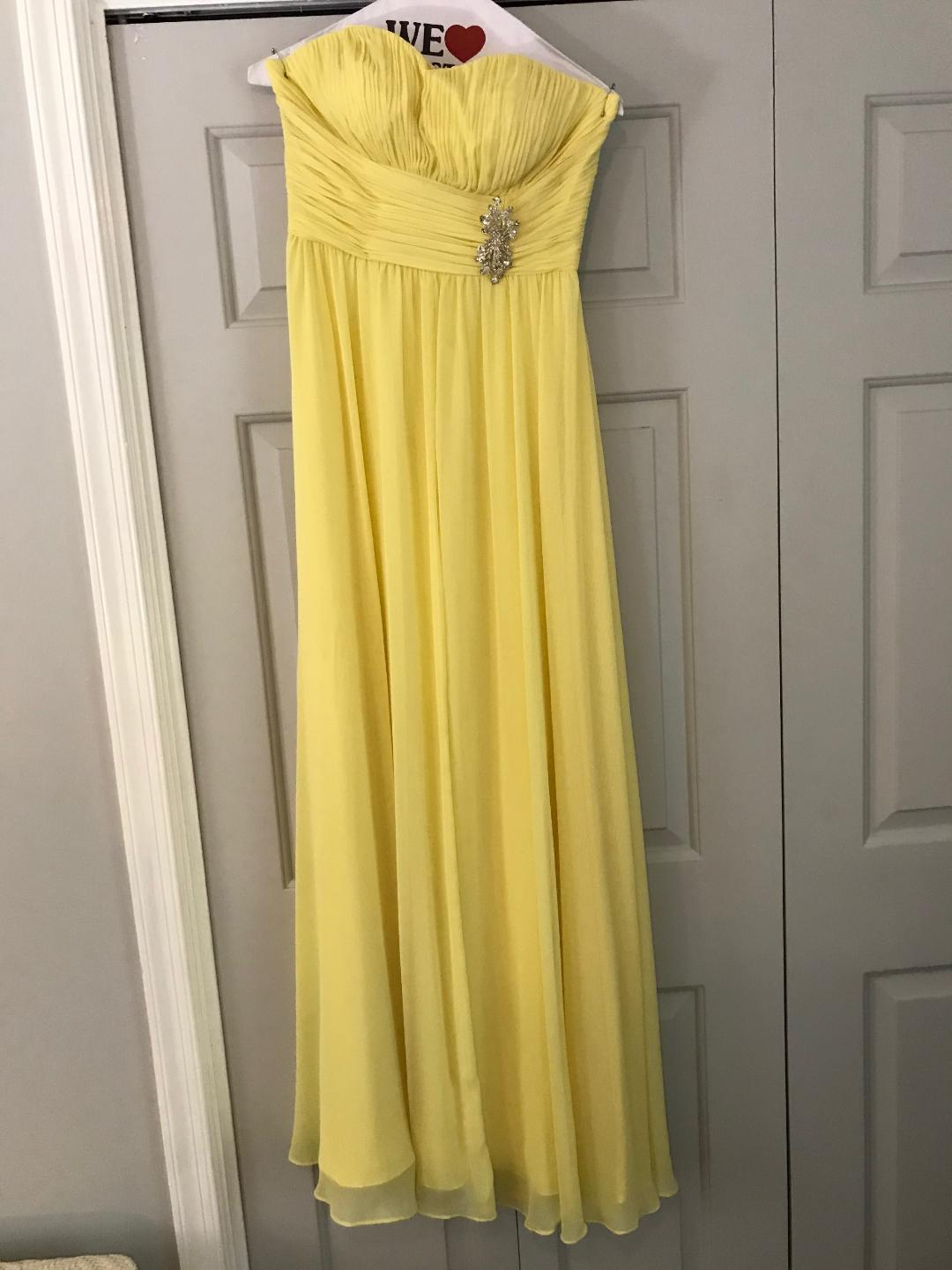 A Speed Yellow Size 6 Prom Sweetheart Strapless Straight Dress on Queenly