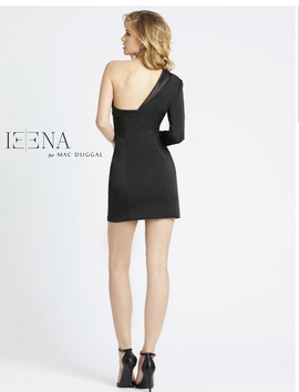 Mac Duggal Black Size 4 Long Sleeve Mini Cocktail Dress on Queenly