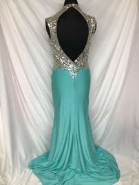 Mac Duggal Blue Size 6 Jewelled Sequin Train Dress on Queenly