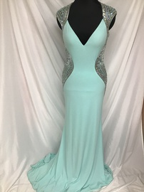 Tony Bowls Blue Size 10 Backless Train Dress on Queenly