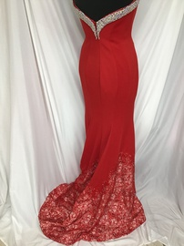 Tiffany Designs Red Size 8 Jewelled Strapless Sequin Train Dress on Queenly