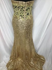 Tony Bowls Gold Size 2 Lace Shiny Train Dress on Queenly