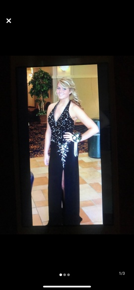 Queenly size 10 Night Moves Black Side slit evening gown/formal dress