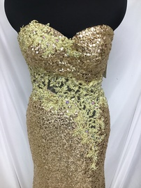 Tony Bowls Gold Size 4 Red Strapless Sequin Train Dress on Queenly