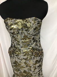 Johnathan Kayne Gold Size 8 Strapless Train Dress on Queenly