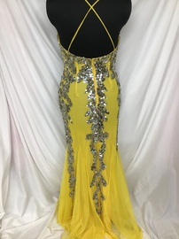 Faviana Yellow Size 0 Jewelled Sequin Train Dress on Queenly