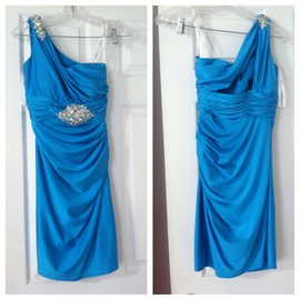 Hannah S Blue Size 0 Fun Fashion Jewelled Sequin Cocktail Dress on Queenly