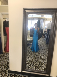 Sherri Hill Blue Size 0 Prom Plunge Backless Train Dress on Queenly