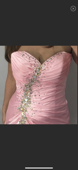 Tony Bowls Pink Size 10 Jewelled Strapless Sequin Side slit Dress on Queenly