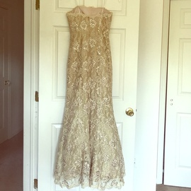 Jovani Gold Size 2 Prom Lace A-line Dress on Queenly