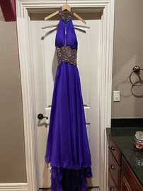 Sherri Hill Purple Size 6 Sequin Prom Halter Plunge Straight Dress on Queenly