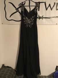 JJ's House Black Size 4 Backless Jewelled Sequin Straight Dress on Queenly