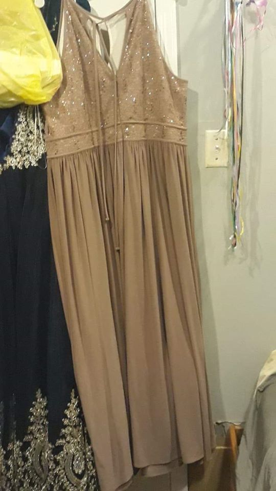 David's Bridal Gold Size 22 Prom Davids Bridal Plus Size Straight Dress on Queenly