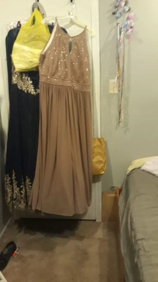 """Queenly size 22 """"b""""""""David's Bridal"""""""""""" Gold Straight evening gown/formal dress"""