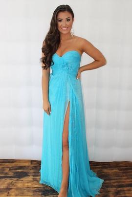 Sherri Hill Blue Size 4 Sweetheart Strapless Side slit Dress on Queenly