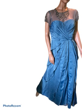 Queenly size 6 Adrianna Papell Blue Straight evening gown/formal dress