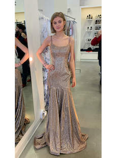 Sherri Hill Nude Size 00 Shiny Medium Height Gold Mermaid Dress on Queenly
