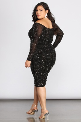 Windsor Black Size 16 Plus Size Shiny Cocktail Dress on Queenly