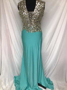 Mac Duggal Blue Size 10 Sequin Jersey Train Dress on Queenly