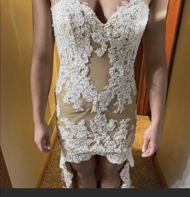 Sherri Hill Nude Size 2 Train Dress on Queenly