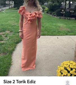 Queenly size 2 Tarik Ediz Orange Straight evening gown/formal dress