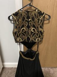 Sherri Hill Black Size 4 Two Piece Pattern Medium Height Train Dress on Queenly