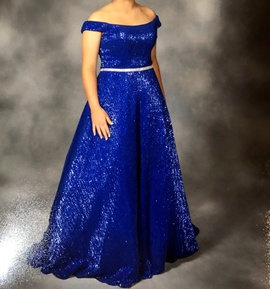 Jovani Blue Size 8 Short Height Ball gown on Queenly