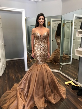 Fernando Wong Gold Size 4 Mermaid Dress on Queenly