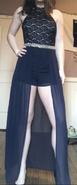 Queenly size 8  Blue Train evening gown/formal dress