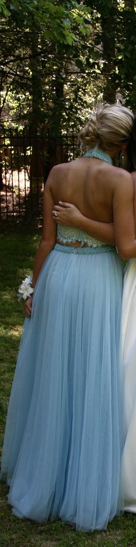 Sherri Hill Blue Size 0 Medium Height Side slit Dress on Queenly