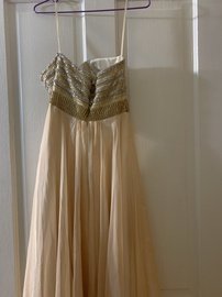 Shail K Gold Size 4 Homecoming Sweetheart Strapless Ball gown on Queenly