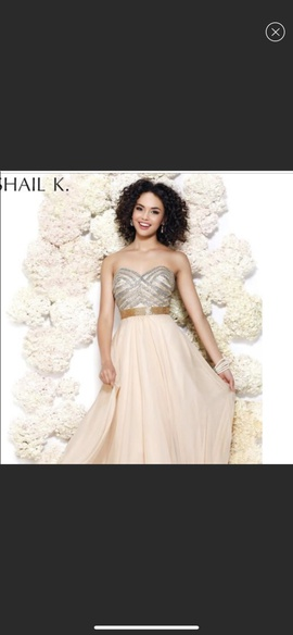 Queenly size 4 Shail K Gold Ball gown evening gown/formal dress
