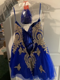 Jovani Blue Size 6 Homecoming Sweetheart Strapless Cocktail Dress on Queenly