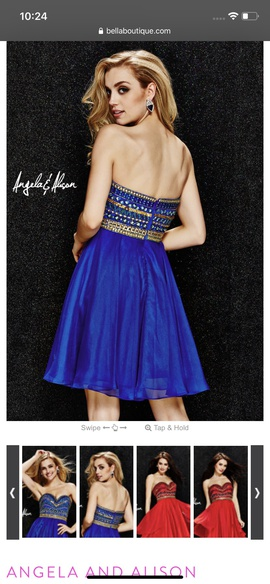 Angela & Alison Royal Blue Size 4 Homecoming Strapless Cocktail Dress on Queenly