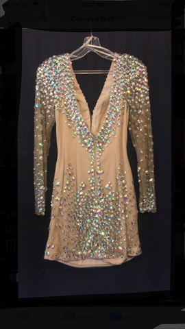 Angela & Alison Multicolor Size 8 Long Sleeve Plunge Pageant Cocktail Dress on Queenly