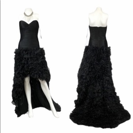 Jovani Black Size 2 High Low Bridesmaid Strapless Train Dress on Queenly