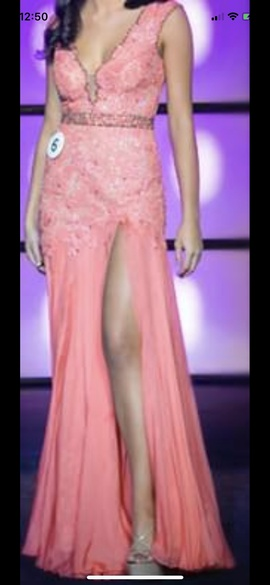Queenly size 2 Sherri Hill Pink Side slit evening gown/formal dress