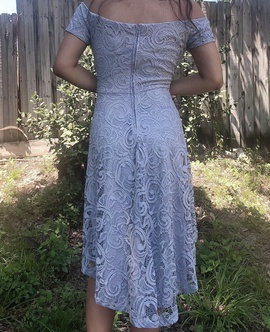 B. Darlin Silver Size 10 Light Blue Lace A-line Dress on Queenly