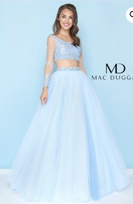 Mac Duggal Blue Size 8 A-line Dress on Queenly