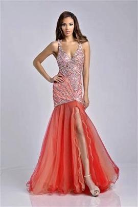 Queenly size 0  Orange Side slit evening gown/formal dress