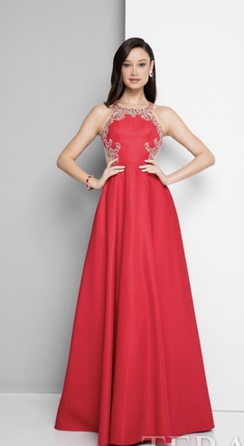 Terani Couture Red Size 0 Halter Backless Tall Height Ball gown on Queenly
