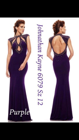 Style 6079 Johnathan Kayne Purple Size 12 Cut Out Plus Size Mermaid Dress on Queenly