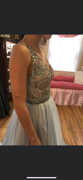 Sherri Hill Blue Size 2 Medium Height Ball gown on Queenly