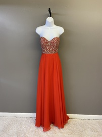 Queenly size 12 Tiffany Designs Red A-line evening gown/formal dress
