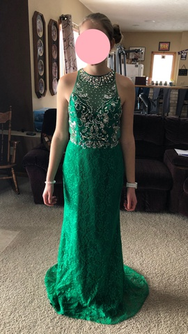 Queenly size 4 Mayqueen Couture Green Train evening gown/formal dress