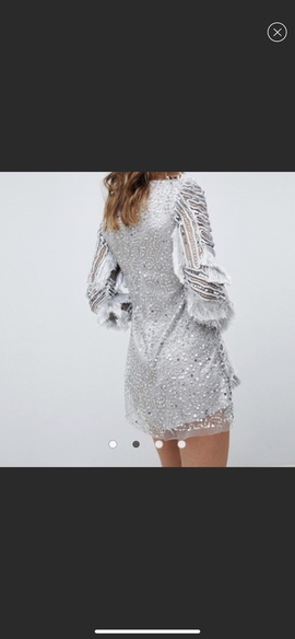 A Star Is Born Silver Size 10 Fun Fashion Cocktail Dress on Queenly