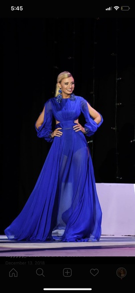 Johnathan Kayne Blue Size 4 Custom Jewelled Sequin A-line Dress on Queenly