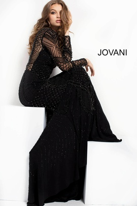 Jovani Black Size 0 Shiny Straight Dress on Queenly