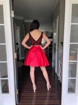 Sherri Hill Red Size 4 Flare Homecoming Cocktail Dress on Queenly