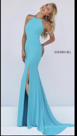 Sherri Hill Blue Size 2 Halter Cut Out Straight Dress on Queenly